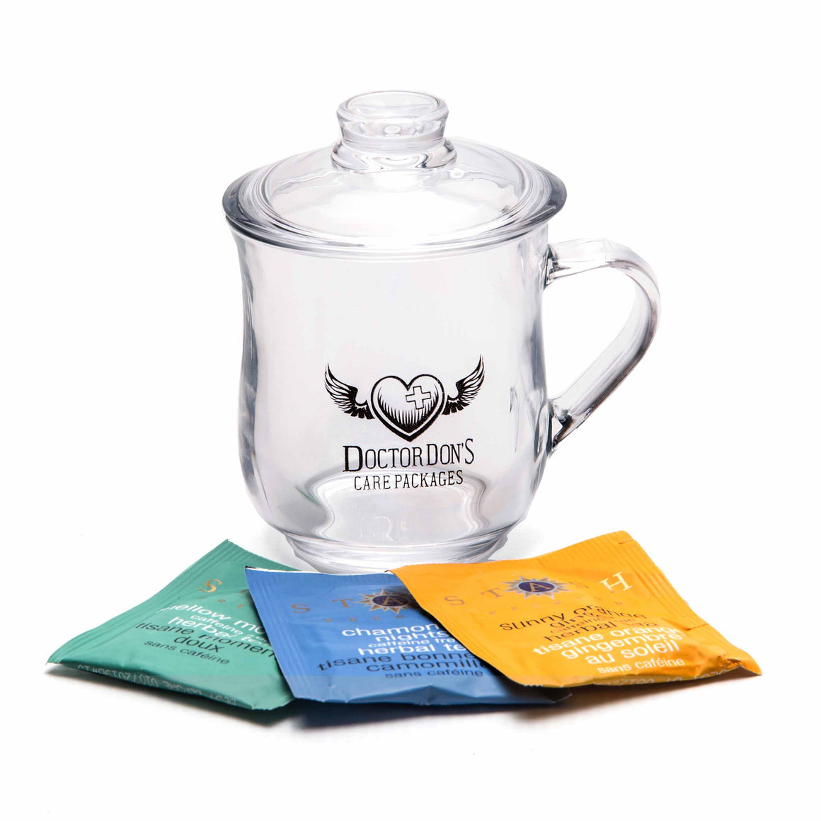 Classic Glass Tea Mug and Tea product image - included with Dr. Don's Care Packages Cancer Patient Care Package.