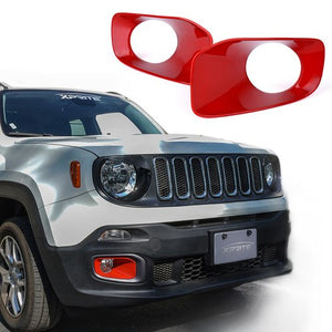 Xprite Red Inner Fog Light Trim for 2015-2017 Jeep Renegade