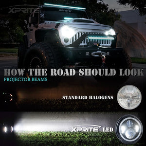 "Xprite 7"" 90W CREE LED Headlights With RGB Chasing Halo For 1997-2018 Jeep Wrangler"