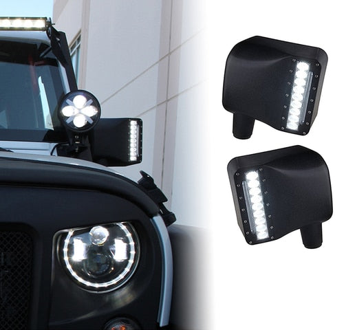 Xprite Clear Lens LED Side Mirror with White Spot Lights and Amber Turn Signal Lights For 2007-2018 Jeep Wrangler