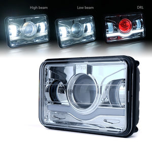 "Xprite 1 Piece 6100 Evolution 4x6"" CREE LED Headlight with High/Low Beam and Sunrise Type DRL"