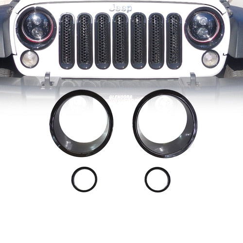 Xprite Black Front Bezel Cover For Turn Signal Light 07-18 Jeep Wrangler