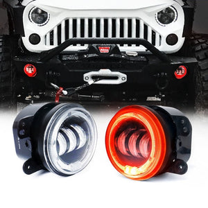 "Xprite 4"" 60W CREE LED Fog Lights W/ Red Halo Ring DRL"
