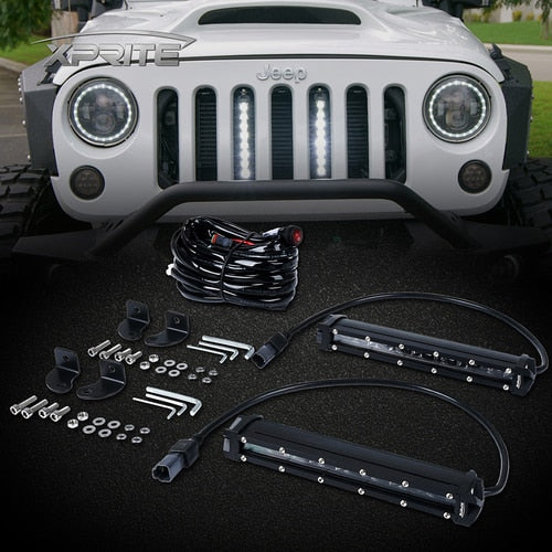 "Xprite 5PC 8"" Double Row Philips LED Grille Light Kit for 2007-2018 Jeep Wrangler JK"