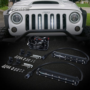 "Xprite 5PC 8"" Single Row CREE LED Grille Light Kit for 2007-2018 Jeep Wrangler JK"