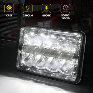 "Xprite 1 Piece 6000 Evolution 4x6"" CREE LED Headlight with High/Low Beam and Line Type DRL"