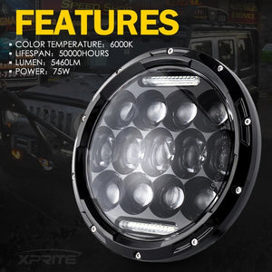 "Xprite 7"" 75W CREE LED Headlights With DRL For 1997-2018 Jeep Wrangler"