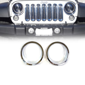 Xprite Chrome Front Bezel Cover For Headlight 07-18 Jeep Wrangler