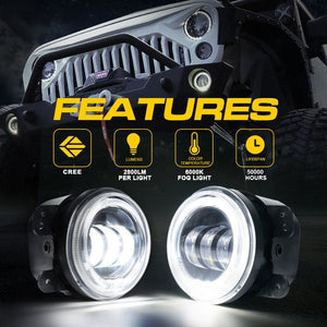 "Xprite 4"" 60W CREE LED Fog Lights W/ White Halo Ring DRL"