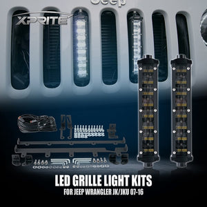 "Xprite 3PC 8"" Double Row Philips LED Grille Light Kit for 2007-2018 Jeep Wrangler JK"