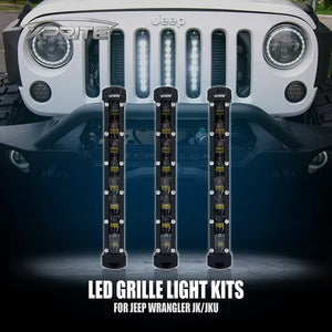 "Xprite 3PC 8"" Single Row CREE LED Grille Light Kit for 2007-2018 Jeep Wrangler JK"