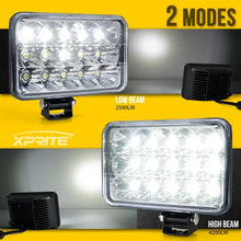 "Xprite 2 Piece 45W 4x6"" CREE LED Headlights with High/Low Beam with Mounting Bracket"
