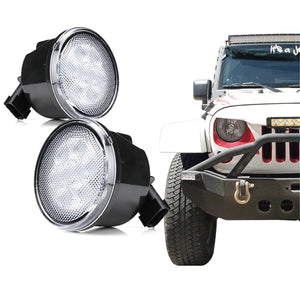 Xprite Clear Lens Amber LED Turn Signal Light for 07-18 Jeep Wrangler