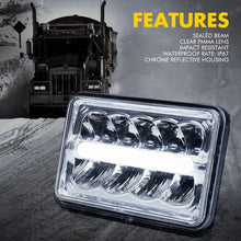 "Xprite 4 Piece 6000 Evolution 4x6"" CREE LED Headlight with High/Low Beam and Line Type DRL"