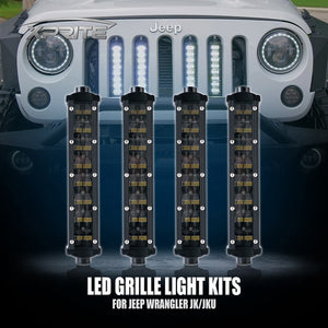 "Xprite 4PC 8"" Double Row Philips LED Grille Light Kit for 2007-2018 Jeep Wrangler JK"