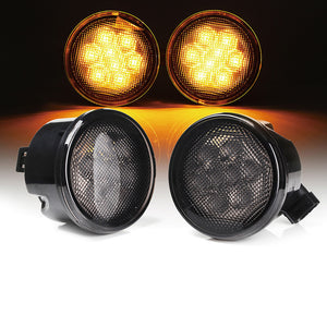 Xprite Smoke Lens Amber LED Turn Signal Light for 07-18 Jeep Wrangler