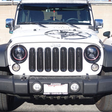 Xprite Black Front Grille Insert and Bezel Cover For Headlight and Turn Signal Light 07-18 Jeep Wrangler