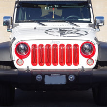 Xprite Red Front Grille Insert and Bezel Cover For Headlight and Turn Signal Light 07-18 Jeep Wrangler