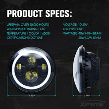 "Xprite 7"" 90W CREE LED Headlights With RGB Halo For 1997-2018 Jeep Wrangler"