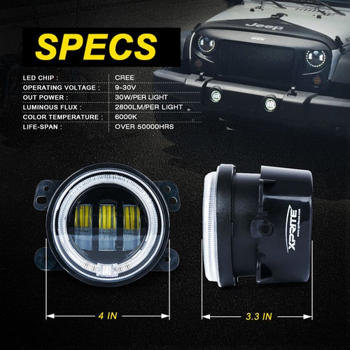 "Xprite 4"" 60W CREE LED Fog Lights W/ Blue Halo Ring DRL"