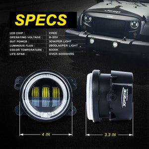"Xprite 4"" 60W CREE LED Fog Lights W/ Green Halo Ring DRL"