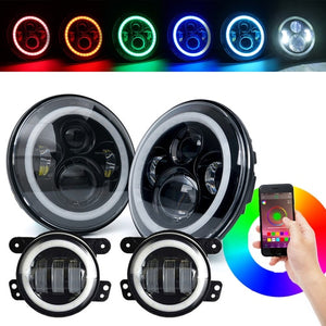 "Xprite 7"" 90W G7 CREE LED Headlights & Fog Light With RGB Halo Combo For 2007-2018 Jeep Wrangler"