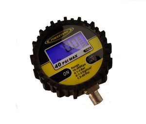 Digital Tire Inflator Gauge 40 PSI 2.5 Inch Diameter 1/8 NPT Threads Lower Power Tank