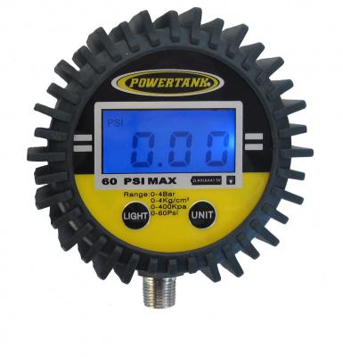 Digital Tire Inflator Gauge 60 PSI 2.5 Inch Diameter 1/8 NPT Threads Lower Power Tank