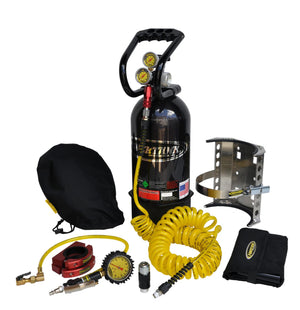 CO2 Tank 10 LB Package C System 250 PSI W/Power Flow II and Roll Bar Clamps Gloss Black Power Tank