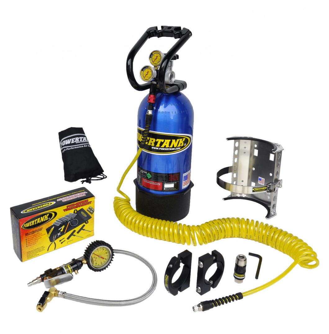 CO2 Tank 10 LB Package C System 400 PSI W/Power Flow II and Roll Bar Clamps Candy Blue Power Tank