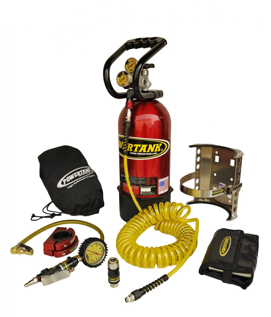 CO2 Tank 10 LB Package C System 250 PSI W/Power Flow II and Roll Bar Clamps Candy Red Power Tank