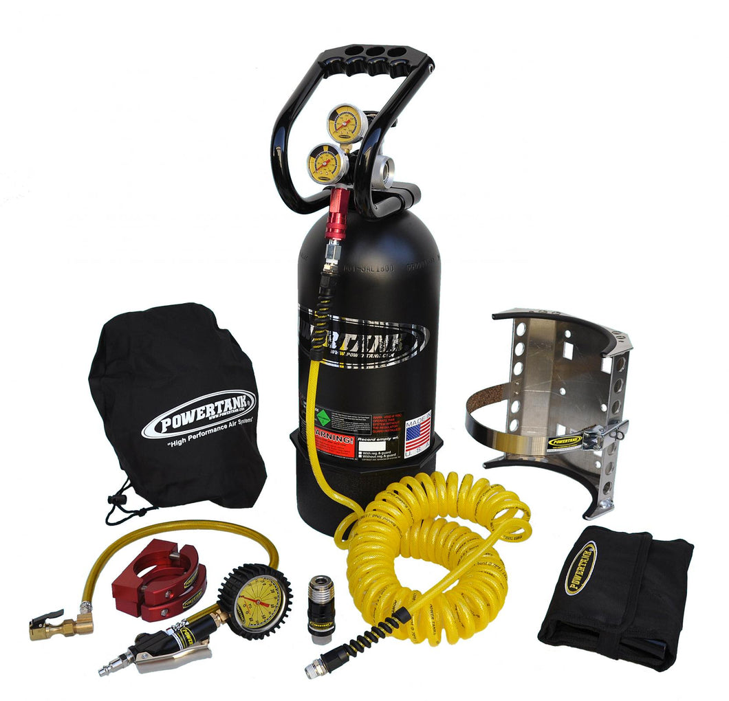 CO2 Tank 10 LB Package C System 250 PSI W/Power Flow II and Roll Bar Clamps Matte Black Power Tank