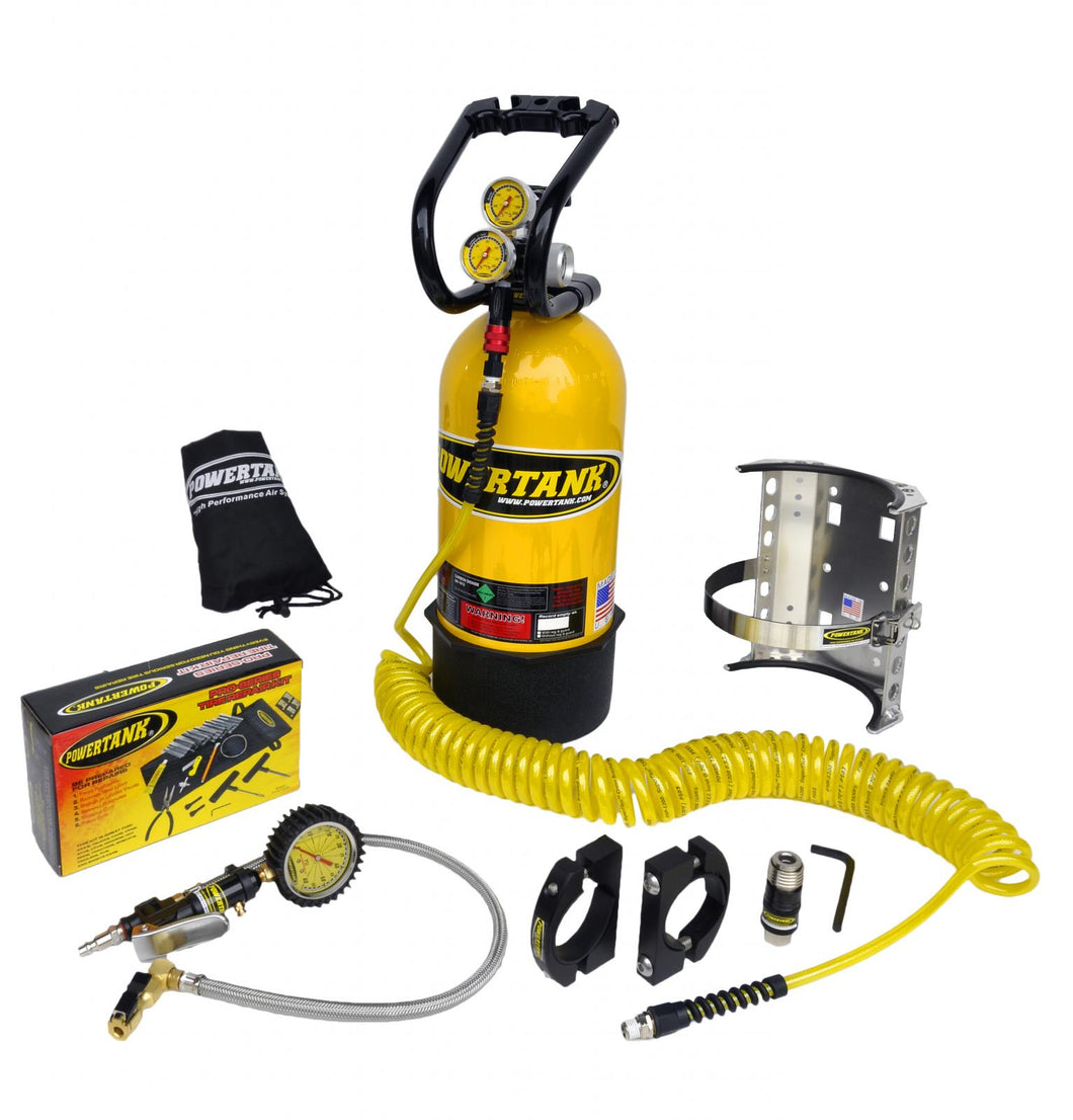 CO2 Tank 10 LB Package C System 400 PSI W/Power Flow II and Roll Bar Clamps Team Yellow Power Tank