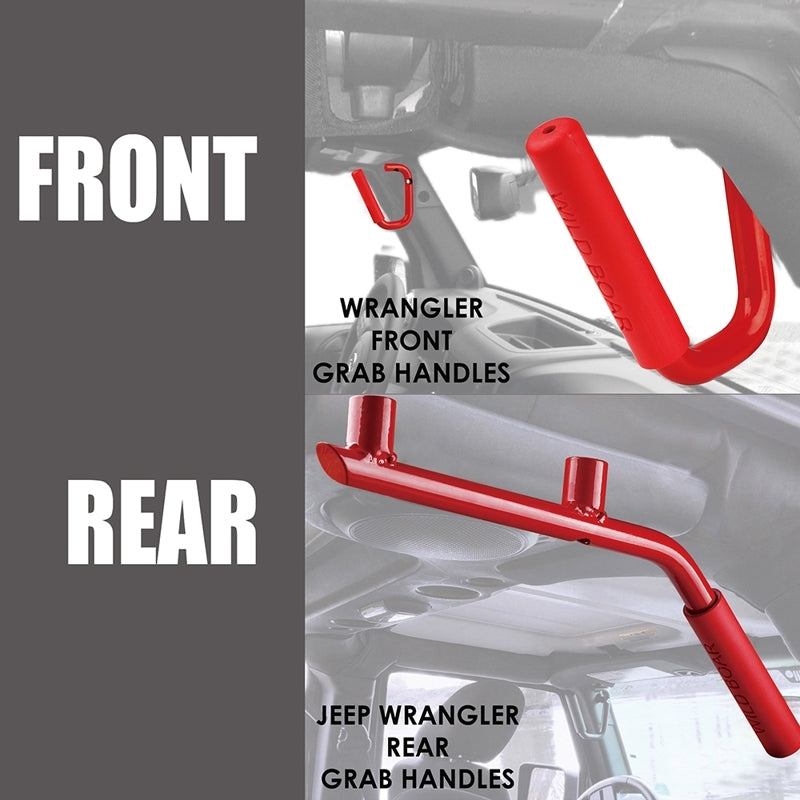 Xprite Red Front and Rear Grab Handles for 2007 - 2018 Jeep Wrangler