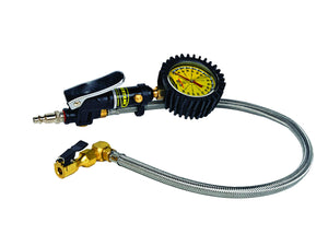 Tire Inflator Heavy Duty 160 PSI 2 Foot Braided Hose Whip Click On Chuck Power Tank