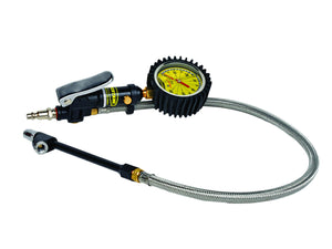 Tire Inflator Heavy Duty 60 PSI 2 Foot Braided Hose Whip Dual Head Chuck Power Tank