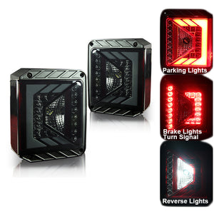 Xprite Rival Series LED Taillights For 2007 - 2017 Jeep Wrangler JK JKU - SMOKE