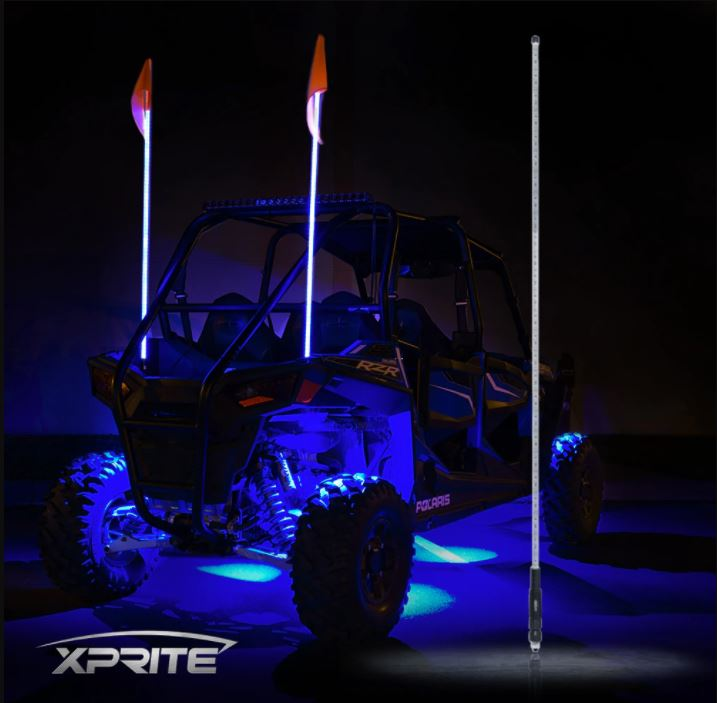 Xprite 5ft Single Color LED Flag Pole Safety Antenna Whip Lights
