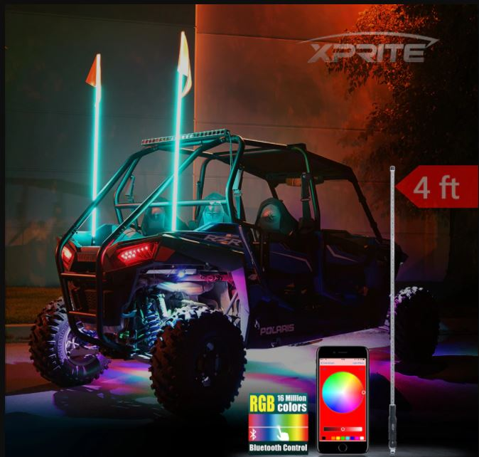 Xprite Bluetooth Controlled RGB Flag Pole Whip Light with Voice and Music Controls