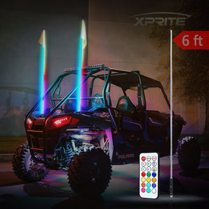 Xprite Remote Control RGB Flag Pole Whip Light with Dancing Light Effects