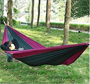 Portable Parachute Nylon Fabric Travel Camping Hammock For One Person (Grey & Purple)