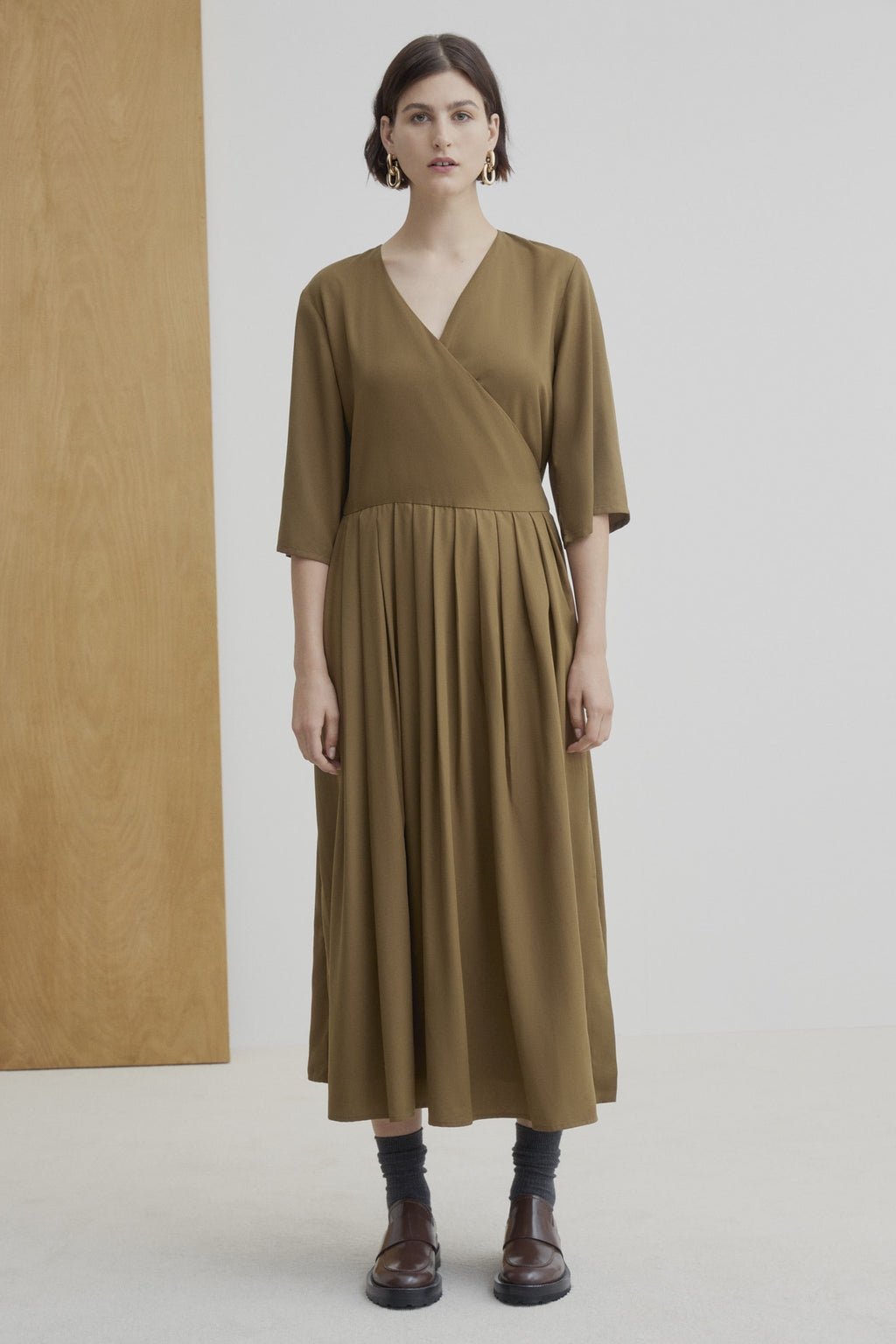 Kowtow W20 Nico Wrap Dress Khaki