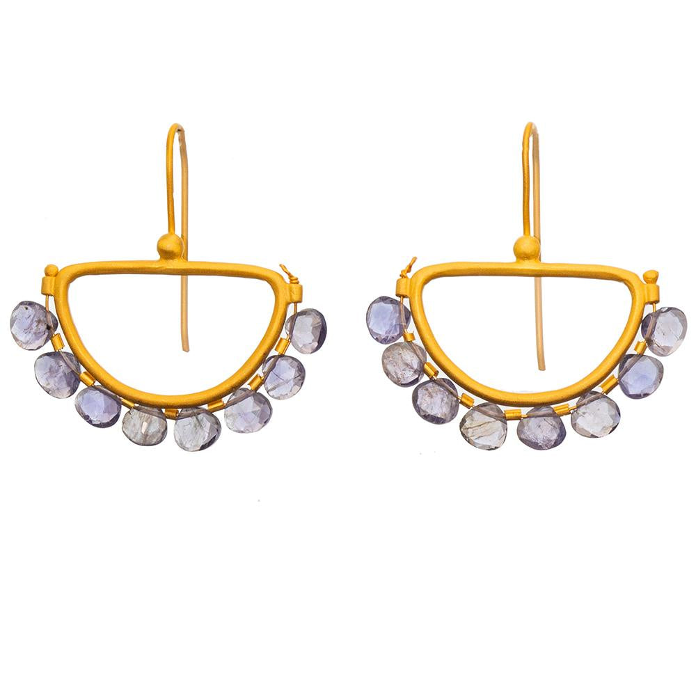 Rubyteva Iolite Gold plate Semi Circle Earrings