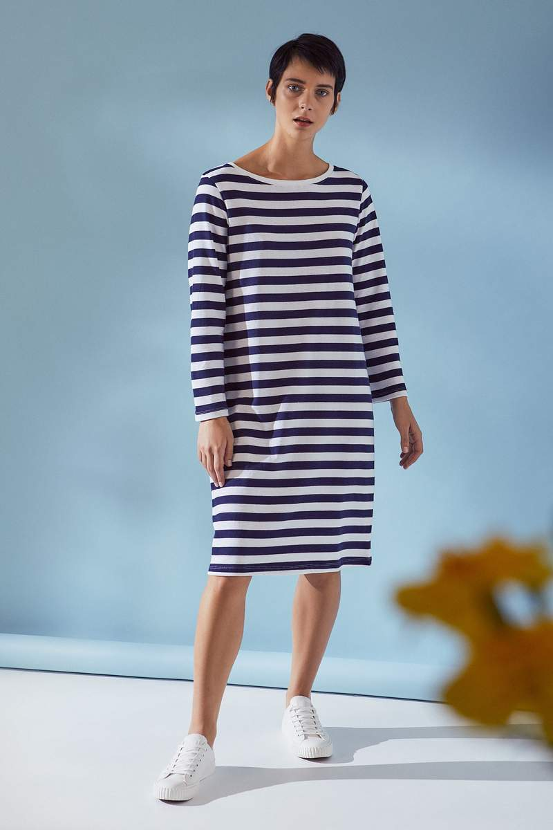 Kowtow S20 Breton Dress Wide Stripe
