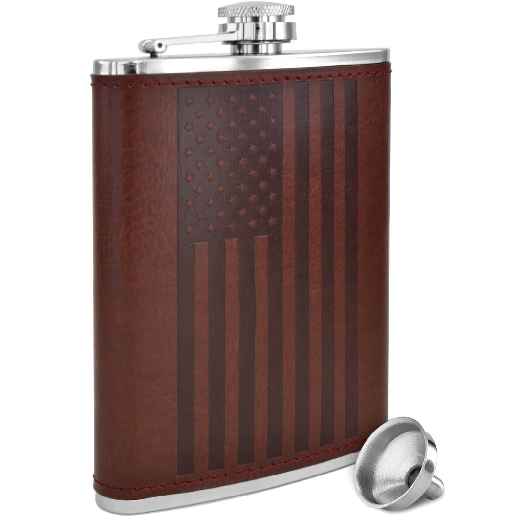 American Flag Design - Brown Soft Touch Leather Wrap, Classic USA, Hip Flask | 304 Stainless Steel | Leak Proof with Bonus Funnel (Flag Design 8 ounce capacity)