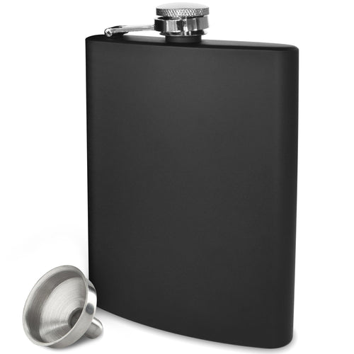 Black Flask - 304 (18/8) Stainless Steel - Leak Proof - Liquor Hip Flask - Includes Bonus Funnel (Matte Black, 8 ounce capacity)