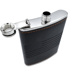 Premium Black American Flag Flask - Soft Touch Wrap | 18/8 304 Highest Food Grade Stainless Steel | Leak Proof - Liquor, Whiskey Hip Flasks | Includes Bonus Funnel (USA 8 oz Black)