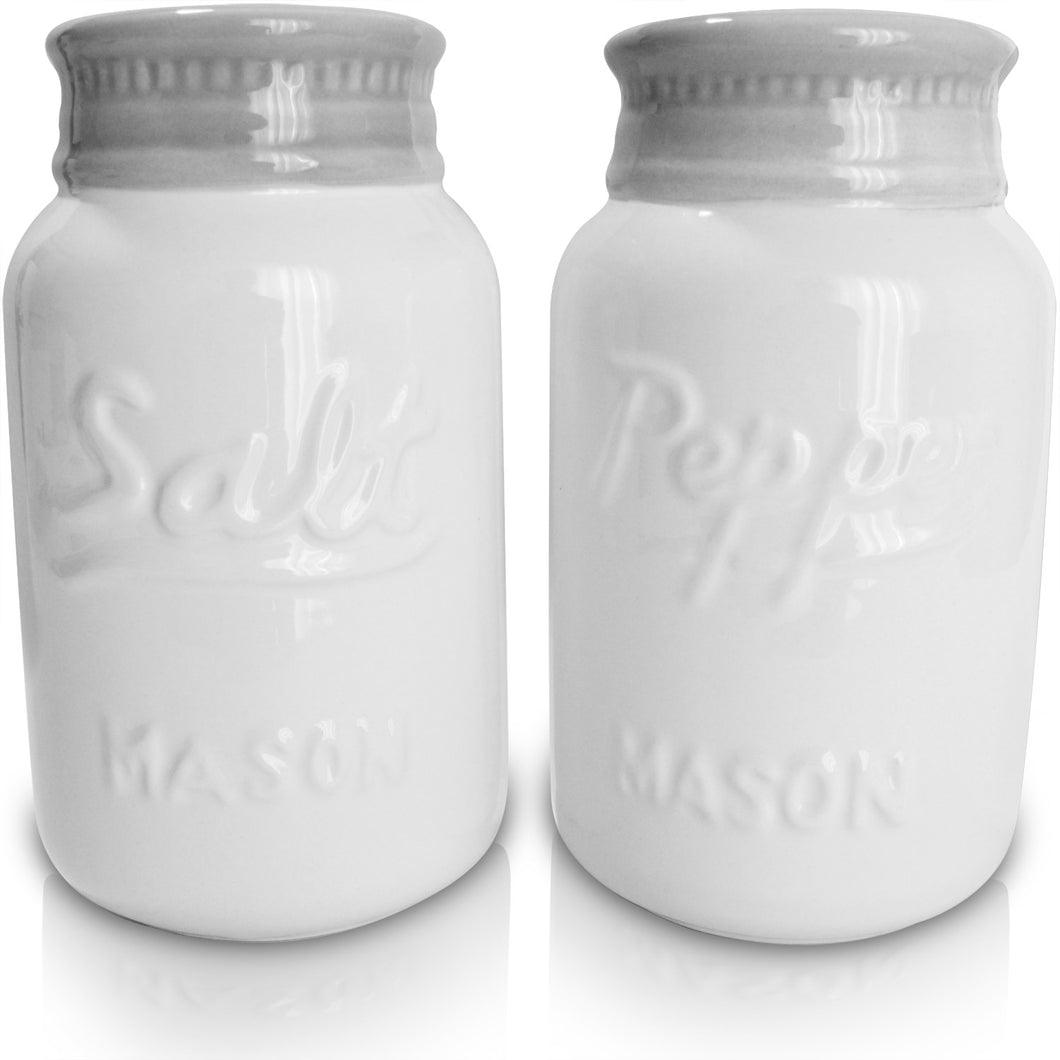 Vintage Style, Ceramic Salt and Pepper Shakers (Large 8 oz), Mason Jar Inspired - Set of 2, Premium, Super Cute, Retro, Decorative, Durable and Functional by My Fancy Farmhouse (White)