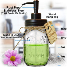 "Stainless Steel Mason Jar Soap Pump/Lotion Dispenser - Includes Iconic, Vintage Smooth ""Ball"" (Regular Mouth) 16 oz Glass Mason Jar (16 Ounce, Oil Rubbed Bronze Pump)"