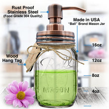 Brushed Copper - Stainless Steel, Mason Jar Soap or Lotion Dispenser with Iconic Vintage 16 Ounce Ball Jar